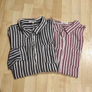 Button down striped blouse